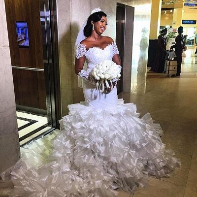 Gorgeous Jewel Cap Sleeve Applique Pearls Ruffles Mermaid Wedding Dresses_2
