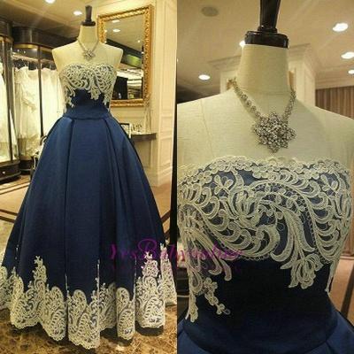 Appliques Elegant Sleeveless A-Line Strapless Evening Dress_1