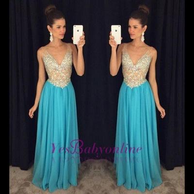 Ruffles V-Neck Crystal Sexy Popular Sleevelesss Prom Dresses_1