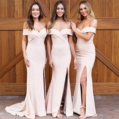 Pale Pink Sexy Cheap Bridesmaid Dresses | Off The Shoulder Side Slit Formal Evening Dress_3
