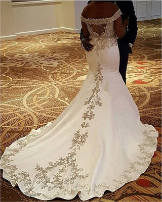 Sexy Off-the-Shoulder Satin Court-Train Mermaid Lace Wedding Dresses_2