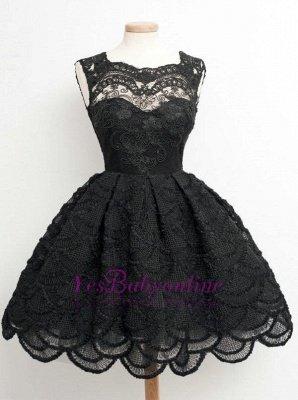 Lace Black Knee-Length Short Homecoming Dress   Stunning Short Prom Dresses_1