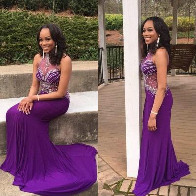 Mermaid Glamorous Crystal Halter Sleeveless Grape Prom Dress_3