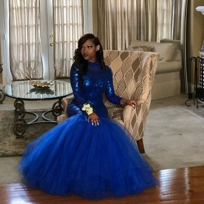 Royal Blue Mermaid Prom Dresses | Long Sleeves  Evening Gowns_4