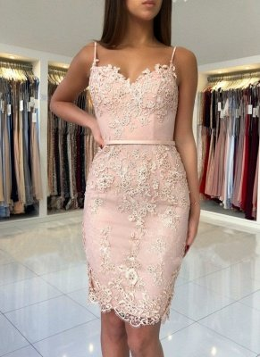 Elegant Pink Sheath Short Homecoming Dresses   Spaghetti-Strap Sleeveless Cocktail Dresses_1