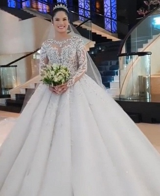 Round Neck Lace Appliques Tulle Ball Gown Wedding Dresses with Long Sleeves_6