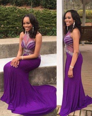 Mermaid Glamorous Crystal Halter Sleeveless Grape Prom Dress_2