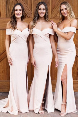 Pale Pink Sexy Cheap Bridesmaid Dresses | Off The Shoulder Side Slit Formal Evening Dress_1