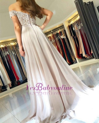 Off-the-Shoulder  Long Elegant Lace-Appliques Prom Dress_1
