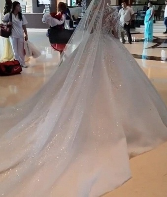 Round Neck Lace Appliques Tulle Ball Gown Wedding Dresses with Long Sleeves_5