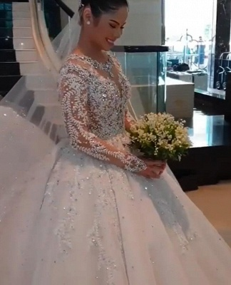 Round Neck Lace Appliques Tulle Ball Gown Wedding Dresses with Long Sleeves_4