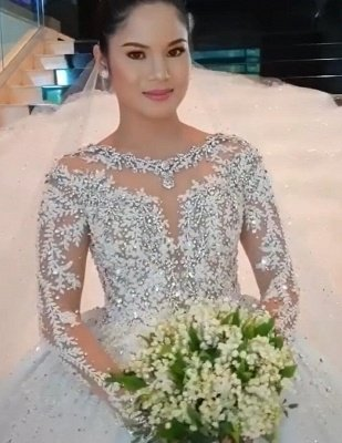 Round Neck Lace Appliques Tulle Ball Gown Wedding Dresses with Long Sleeves_3