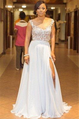 Lace Appliques Sleeveless Sexy Evening Dresses 2019   A-line Chiffon Side Split Cheap Bridesmaid Dresses_1