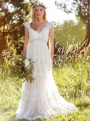 A-Line Tulle Lace V-Neck Cap-Sleeve Appliqued Wedding Dress_1