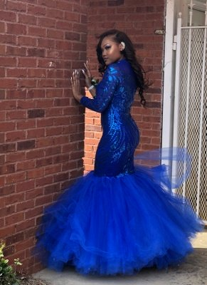 Royal Blue Mermaid Prom Dresses | Long Sleeves  Evening Gowns_1