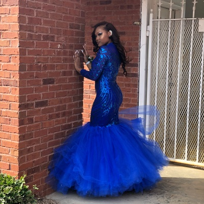 Royal Blue Mermaid Prom Dresses | Long Sleeves  Evening Gowns_3