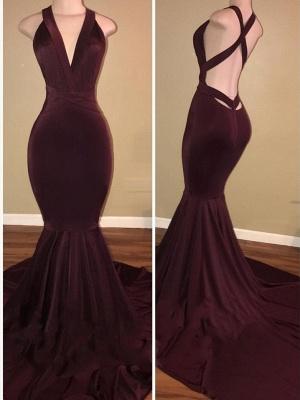 Elegant V-Neck Mermaid Burgundy Prom Dresses   Criss-Cross-Straps Sleeveless Long Evening Dresses_1