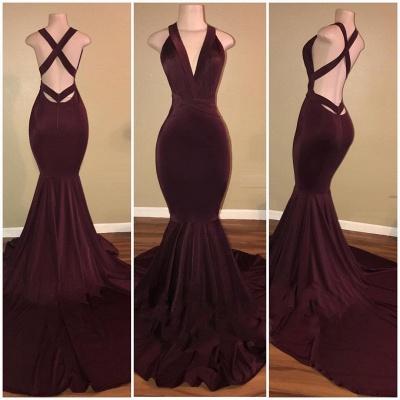 Elegant V-Neck Mermaid Burgundy Prom Dresses   Criss-Cross-Straps Sleeveless Long Evening Dresses_3