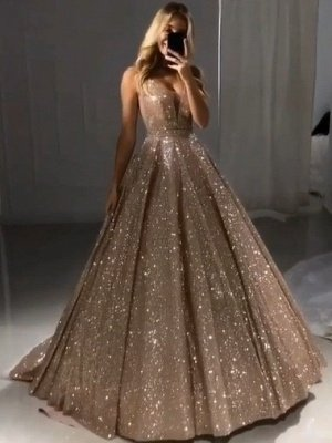 Shiny Gold Ball Gown Evening Dresses | Sexy V-Neck Sequin Prom Dresses_1