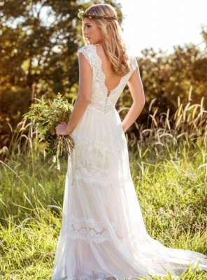 A-Line Tulle Lace V-Neck Cap-Sleeve Appliqued Wedding Dress_3