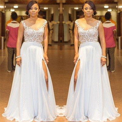Lace Appliques Sleeveless Sexy Evening Dresses 2019   A-line Chiffon Side Split Cheap Bridesmaid Dresses_3