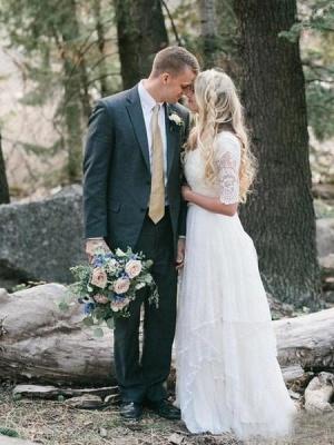 A-Line Chiffon Lace V-Neck Half Sleeves Wedding Dress_3
