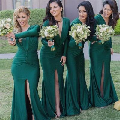 Green Front-Split Long-Sleeves V-Neck Sexy Mermaid Bridesmaid Dresses_3