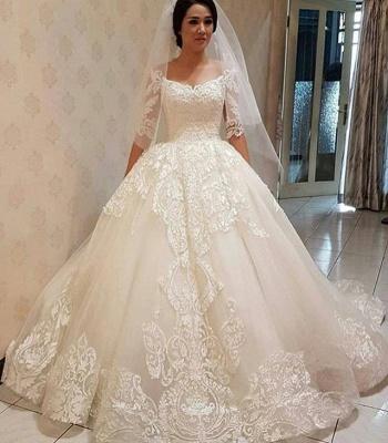Glamorous  Off-the-shoulder Half Sleeve Puffy Lace Wedding Dress_3