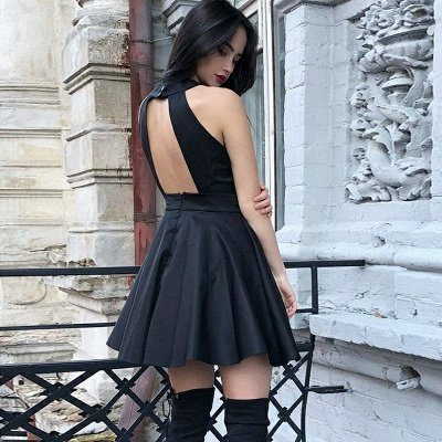 Modern Halter Sleeveless A-line Short Homecoming Dress | Open Back Party Gown BC0039_4