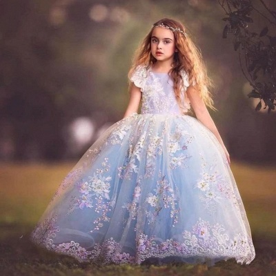 Fairy Ball Gown Flower Girl Dress | Short Sleeves Puffy Girl Formal Dress_3