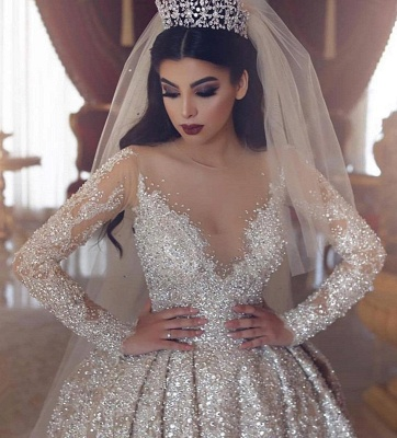 V-neck Lace Appliques Ball Gown Wedding Dresses with Long Sleeves_3
