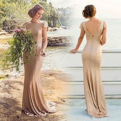 Long Short-Sleeve Zipper Elegant Sequined Bridesmaid Dresses_3