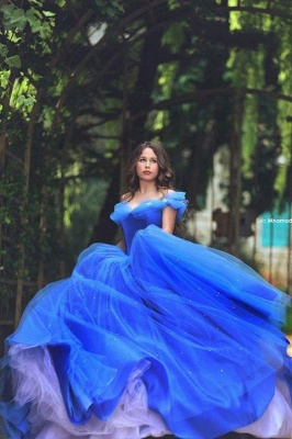 Fairy-Tale Princess Puffy Mesh Off-the-shoulder Ball Gown Blue Glamorous Evening Dress_2