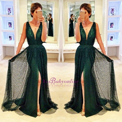 Sleeveless Sequined Front-Split Dark-Green V-Neck Sexy Prom Dress_1