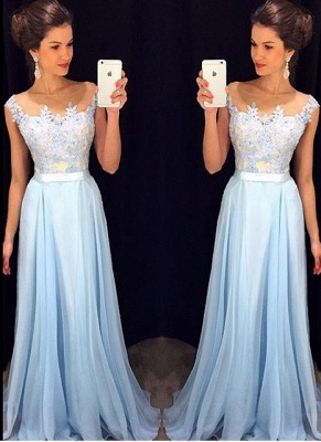 Appliques A-line Long Prom Dresses   Cap Sleeves Evening Gowns with Sash_1