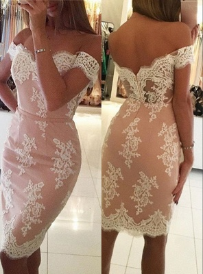 Sheath Mermaid Homecoming Dresses | Off-the-Shoulder Short Cocktail Dresses_4