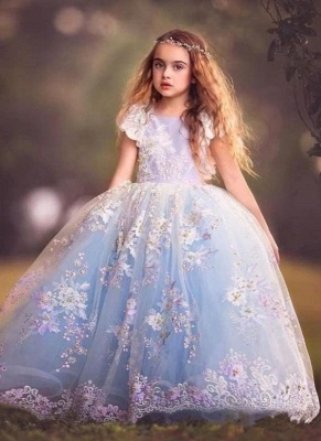 Fairy Ball Gown Flower Girl Dress | Short Sleeves Puffy Girl Formal Dress_1
