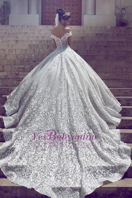 Off-the-Shoulder New Short-Sleeve Glamorous Lace Wedding Dresses_1