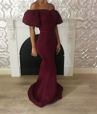 Elegant Bubble Sleeves Prom Dresses   Mermaid Burgundy Ribbon Evening Gowns_4