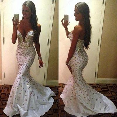 Crystals Zipper Sweep-Train Gorgeous Sweetheart Mermaid Sleeveless Prom Dress_3
