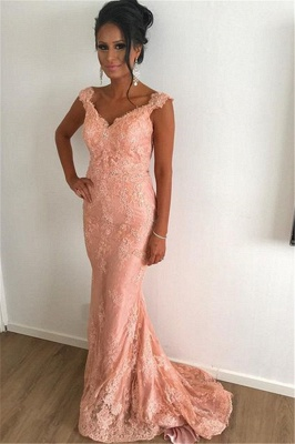 Straps Lace Coral Pink Evening Dresses Cheap | Sleeveless Sheath Sweep Train 2019 Prom Dresses Sexy_1