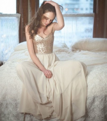Sequins Spaghetti-Straps Sleeveless A-Line Simple Prom Dresses_3