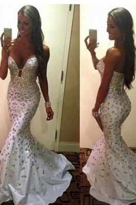 Crystals Zipper Sweep-Train Gorgeous Sweetheart Mermaid Sleeveless Prom Dress_2