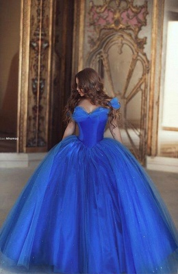 Fairy-Tale Princess Puffy Mesh Off-the-shoulder Ball Gown Blue Glamorous Evening Dress_4