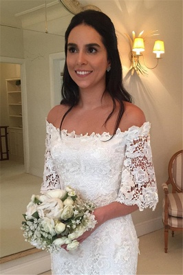 Stunning Half-Sleeves Simple Off-the-Shouler Lace Wedding Dress_3