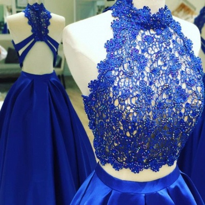 2019 Two-Piece Prom Dresses High Neck Lace Beading Puffy Evening Gowns_3