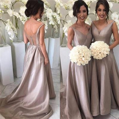 Sheer-Tulle V-neck Open-Back Simple Stretch-Satin Sleeveless Bridesmaid Dress_3
