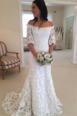 Stunning Half-Sleeves Simple Off-the-Shouler Lace Wedding Dress_2
