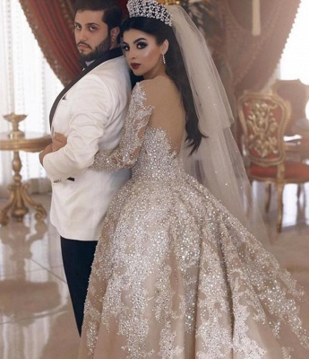 V-neck Lace Appliques Ball Gown Wedding Dresses with Long Sleeves_2