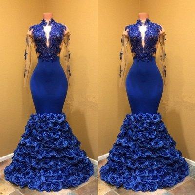 High Neck Mermaid Prom Dress, Flowers Prom Dress BA8227_3